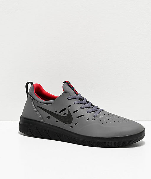 Nike SB Nyjah Free Dark Grey, Black, and Gym Red Shoe