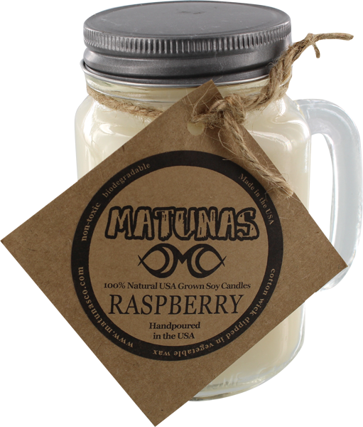 Matunas Soy Candle 16Oz Glass Mug-Raspberry