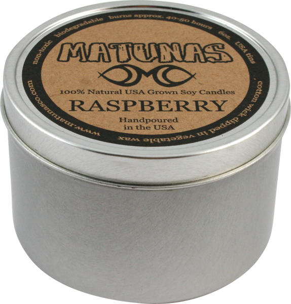 Matunas Soy Candle 6Oz Tin- Raspberry