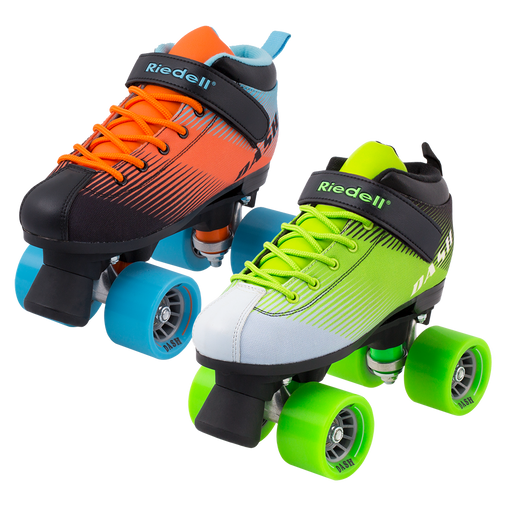 Riedell Dash Roller Skates - Aqua/Orange or Green/White
