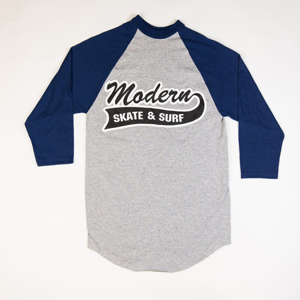 Modern Baseball Tee Shirt - Grey / Navy