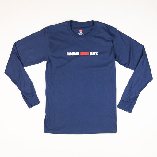 Modern Skate Park Long Sleeve Tee Shirt - Navy