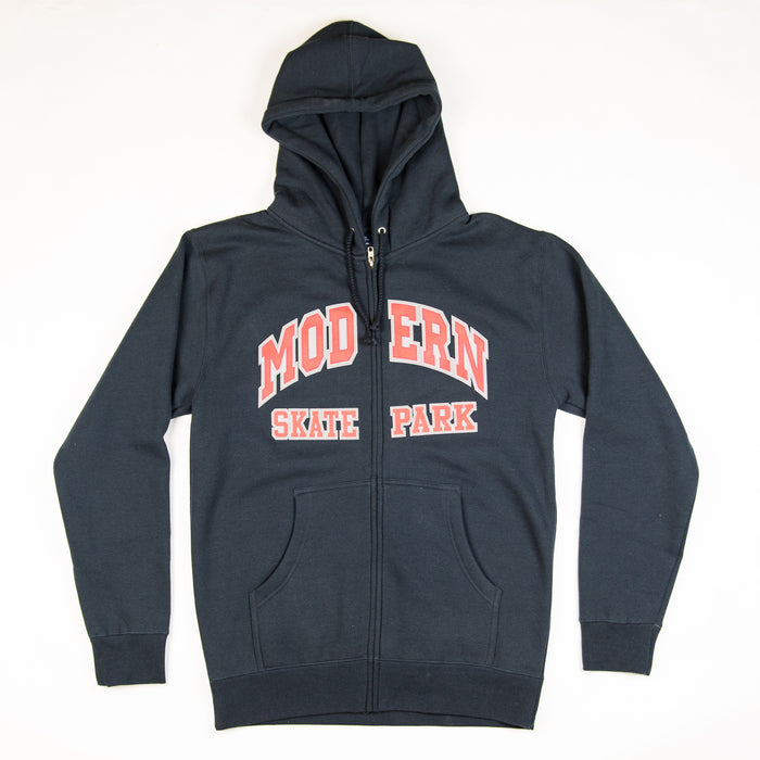 Modern Skate Park Zip Up Hoodie - Black/Red