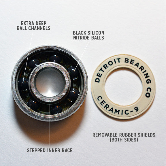 Detroit Bearing Co Ceramic ABEC 9 Bearings - 8 Pack