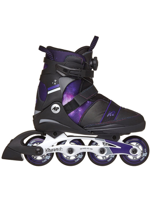 K2 Charm Boa Alu Girls Adjustable Inline Skate 2021 Purple Swirl