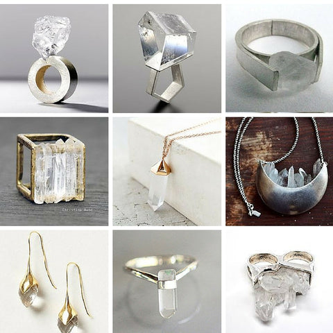 crystal quartz jewellery - rings, earrings and necklaces