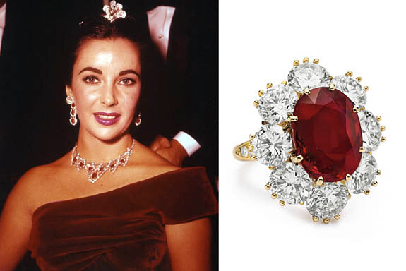 elizabeth taylor ruby necklace and ring