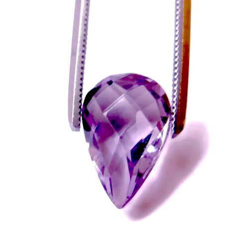 Amethyst pear briolette checkerboard 12x8mm gemstone