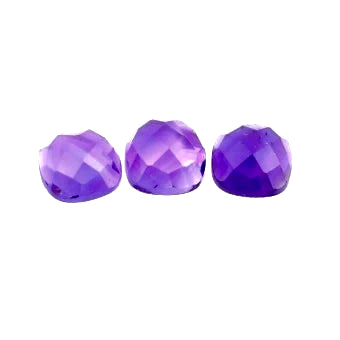 natural amethyst cabochon checkerboard cushion 10mm gem