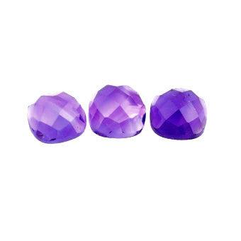 natural amethyst checkerboardboard cushion cabochon 7mm