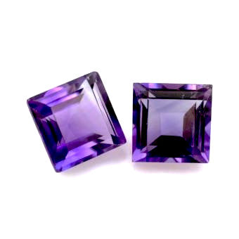 Natural amethyst square cut 3mm gemstone