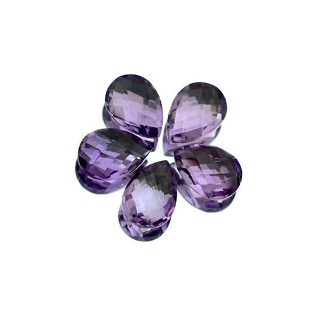 amethyst pear briolette checkerboard 10x7mm gemstone