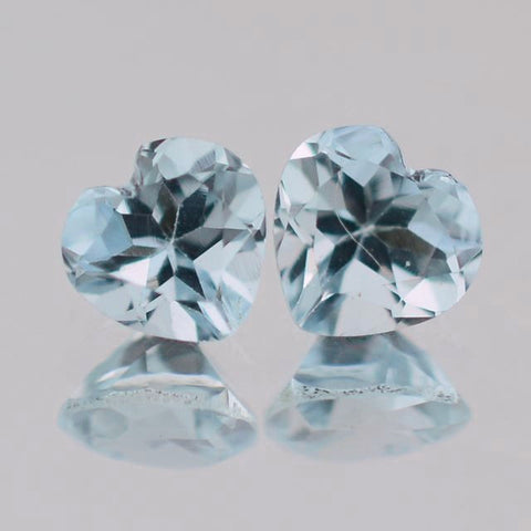 Natural aquamarine heart cut 6mm gemstone