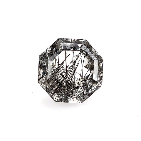 natural black rutile quartz hexagon step-cut 10mm loose gemstone