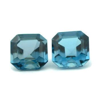 Blue Topaz square step cut - 6 mm (London)
