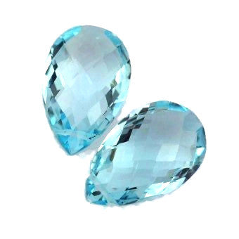natural swiss blue topaz briolette pear cut gemstone