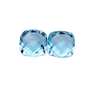 natural swiss blue topaz cushion checkerboard cabochon