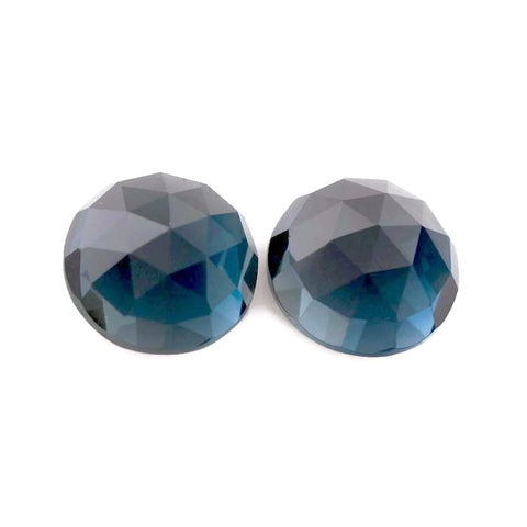 Natural london blue topaz 10mm round rose cut cabochon gemstone