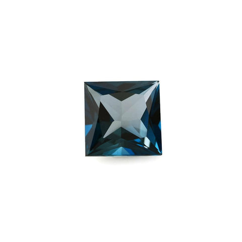 Natural square princess cut london blue topaz 8mm gem
