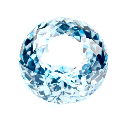 Natural sky blue topaz round portuguese cut 12mm loose gemstone