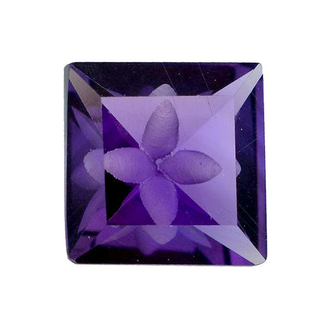amethyst square octagon mirror cut 12mm natural gemstone