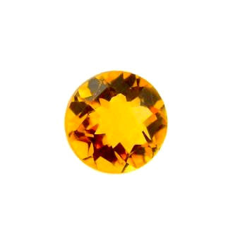 Citrine round checker cut - 7 mm