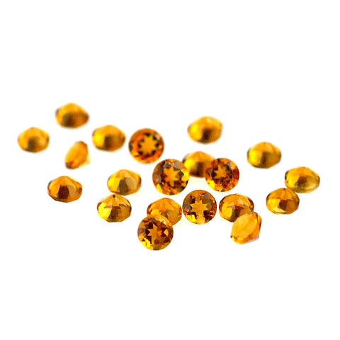 Natural citrine round brilliant cut 3mm gemstone