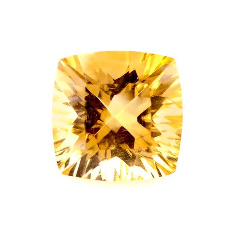 natural concave cushion cut citrine 10mm gemstone