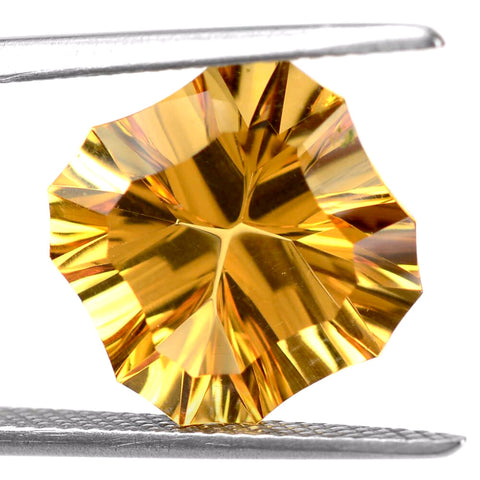 natural citrine cushion concave free form 12mm gemstone