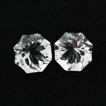 Crystal Quartz round petal cut -  10 mm
