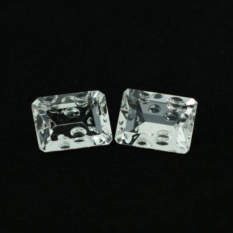Crystal Quartz emerald bubble cut - 16 x 12  mm