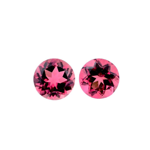 Pink tourmaline round cut 5mm gemstone