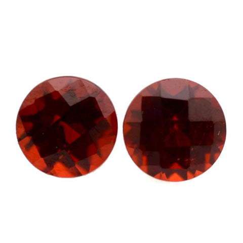 natural garnet round checkerboard cut 7mm gemstone