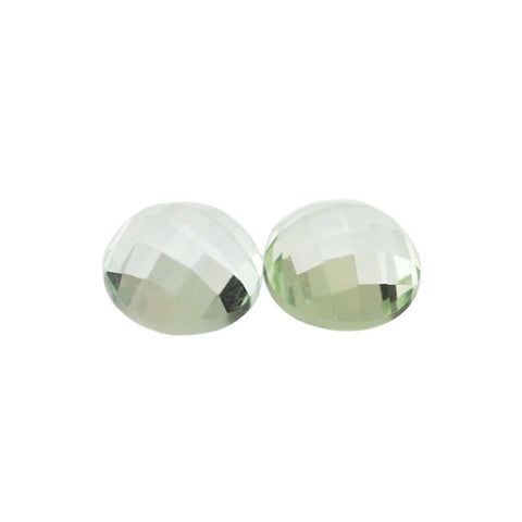 Natural green amethyst prasiolite round checkerboard cut cabochon gem