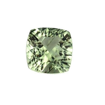 Green Amethyst - cushion shape with a beautiful checker cut in the back - Prasiolite - 12 mm