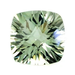 Green amethyst prasiolite cushion checkerboard concave cut 13mm gemstone
