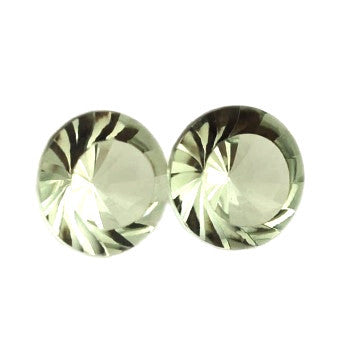 green amethyst round whirl cut 12mm natural gemstone