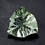 Green amethyst prasiolite trillion concave fancy cut 14mm loose stone