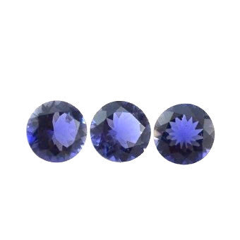 natural iolite round cut 4mm blue violet gemstone