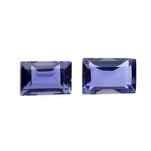 Natural iolite baguette cut 5x4mm gemstone from Brazil