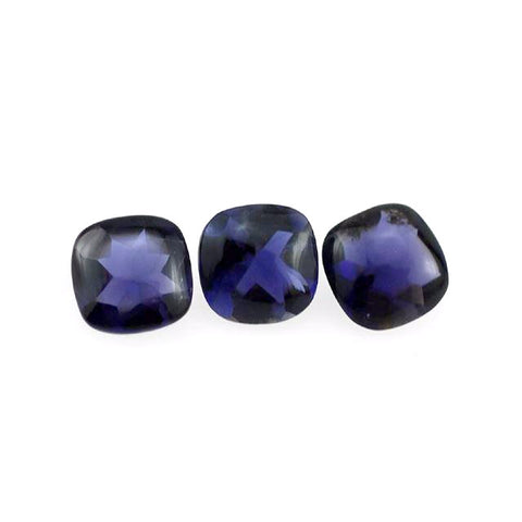 natural iolite cushion buff-top cut 5mm gemstone