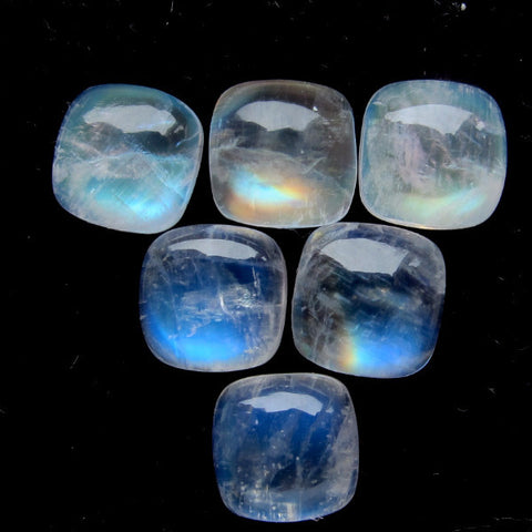 Rainbow moonstone cushion cut cabochon 8mm loose gemstone