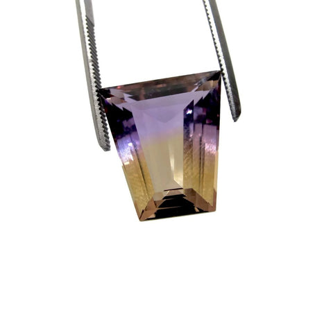ametrine purple yellow loose stone 15x14mm trapezoid cut