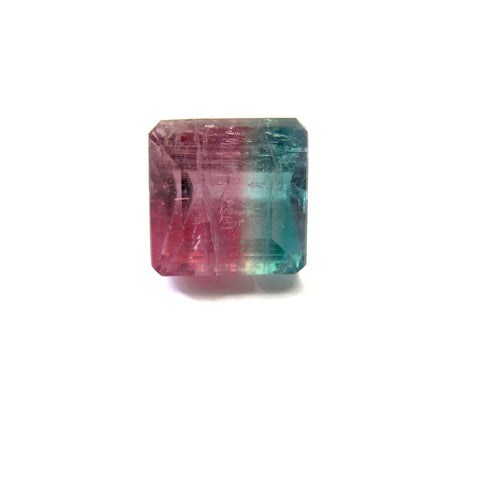 bi-colour tourmaline pink blue square octagon cut 11.5mm