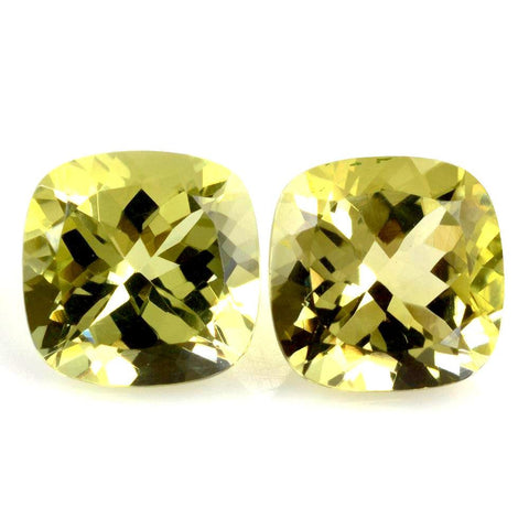 lemon quartz cushion cut 10mm natural stones
