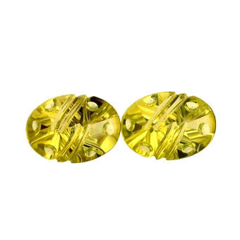 Lemon Quartz -  Oval cut with special details / bubbles and stripes - 14 x 10 mm