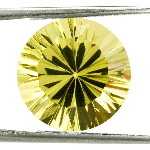lemon quartz round concave cut 10mm natural gemstone