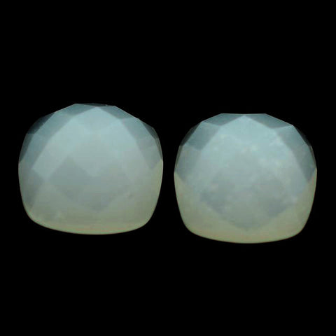 Moonstone cushion cabochon - 6.5mm (checkerboard - white)