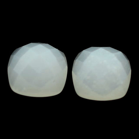 Moonstone cushion cabochon - 8mm (checkerboard - white)