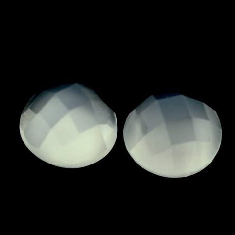 moonstone white round checkerboard cabochon 5mm